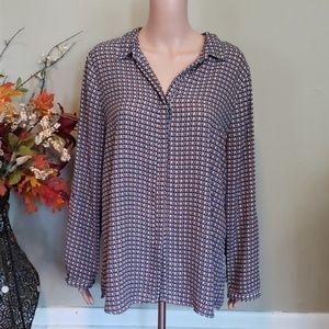 Roz & Ali silky button down blouse